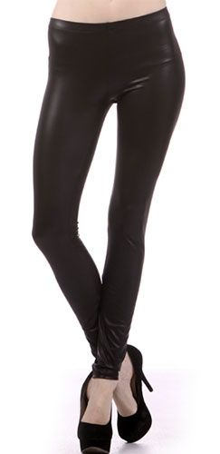 64590770385e Matte Finish Faux Vegan Leather Liquid Black Leggings