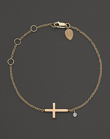 Meira T 14K Yellow Gold Cross Bracelet with Diamond Accent