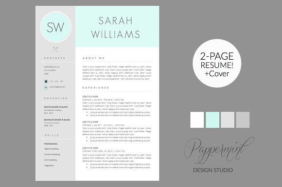 Resume Template + Cover Letter WORD by PAPPERMINT on @creativemarket