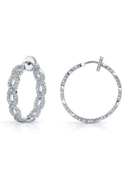 Katharine James 1 86ctw Bella S Love Hoop Earrings Long 18k White Gold Set With Diamonds