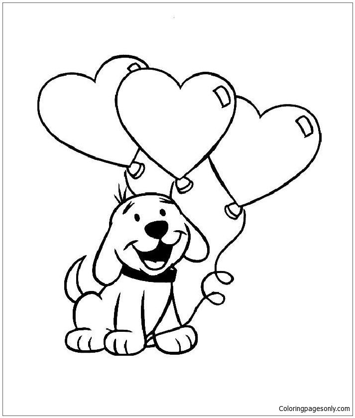 Cute Puppy With Heart Coloring Page | Puppy coloring pages ...