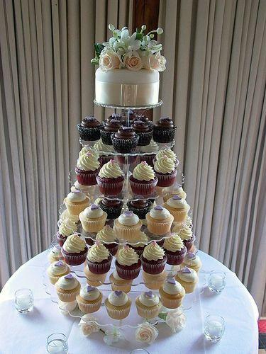 Ivory Wedding Cupcake Tower   Towers   Pinterest   Wedding cupcake ...