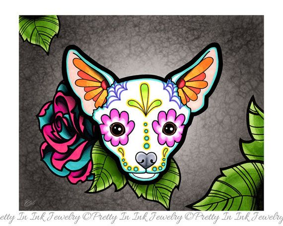 Chihuahua in White - Day of the Dead Sugar Skull Dog 8\