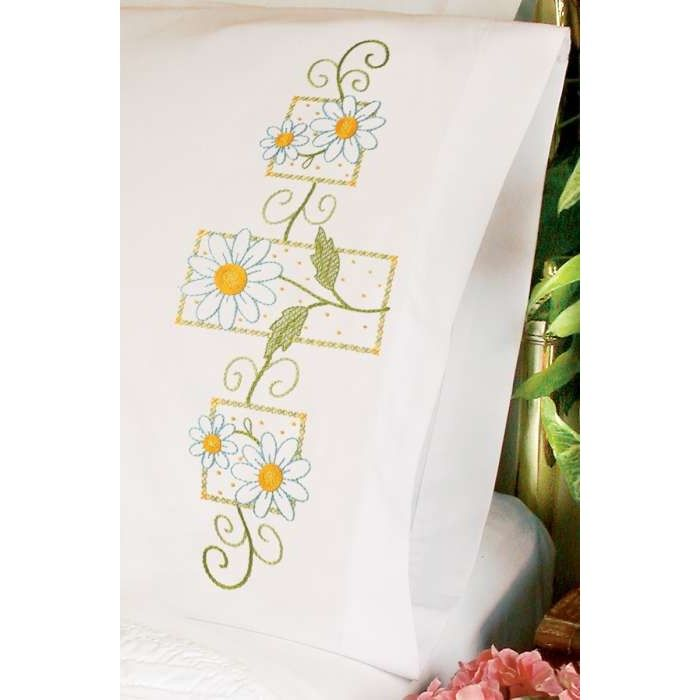 Daisies On Gingham Pillowcase Pair Stamped Cross Stitch