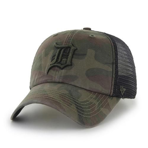 47887ff0 Detroit Tigers '47 Brand Frontline Camo Fitted Hat. The relaxed stretch fit  cap features uniquely designed black yet bold raised embroidered Tigers  logos on ...