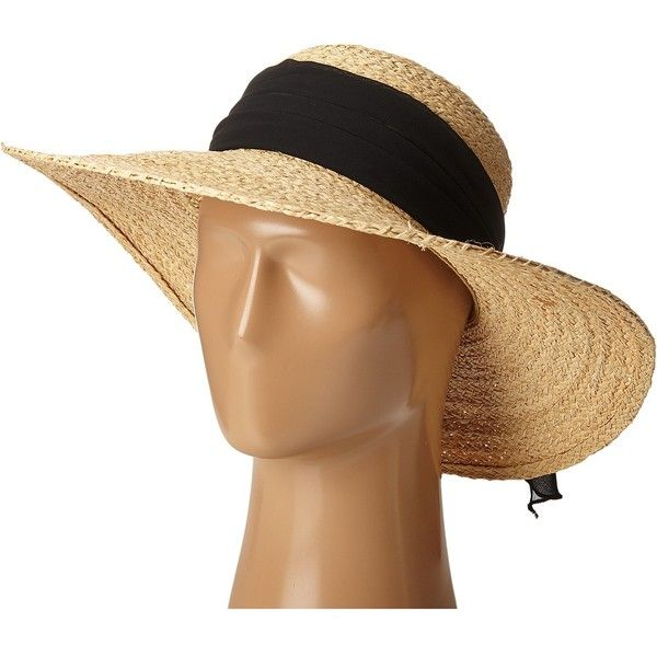 SCALA Fine Braided Raffia Big Brim with Chiffon Scarf Trim (Black)... ($44) ❤ liked on Polyvore featuring accessories, hats, beach hat, crown cap, scala hats, raffia hat and floppy sun hat