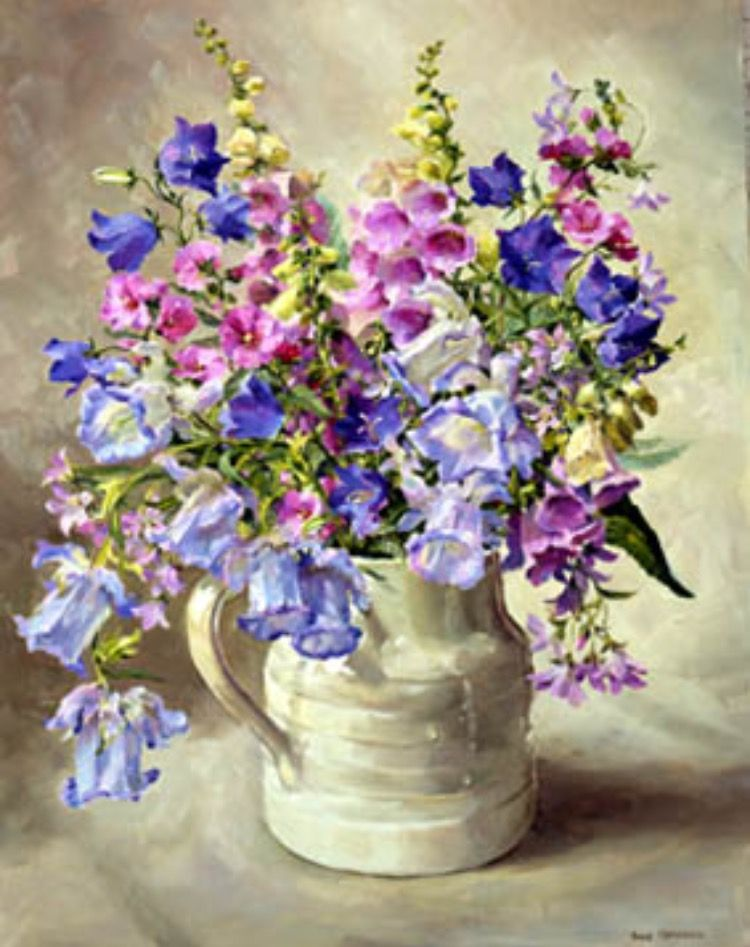 Canterbury Bells And Foxgloves Creative Artwork Glass Vase Painting