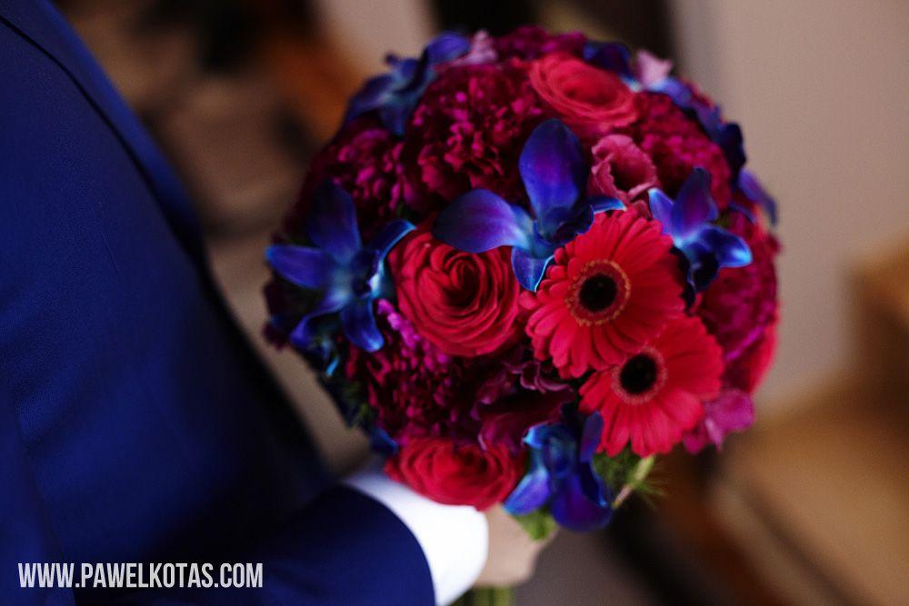 Czerwono-Niebieski Bukiet Ślubny