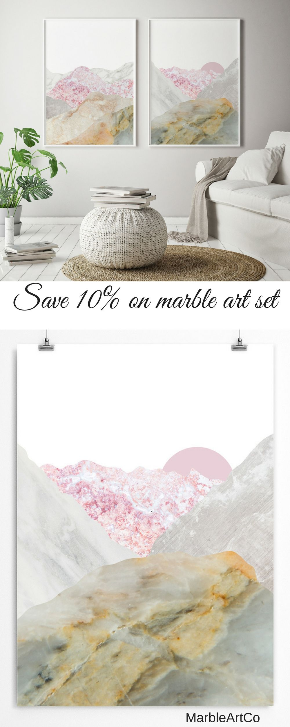 Save 10% for a set of 2 Large Framed Art Prints. Marble wall artwork ...