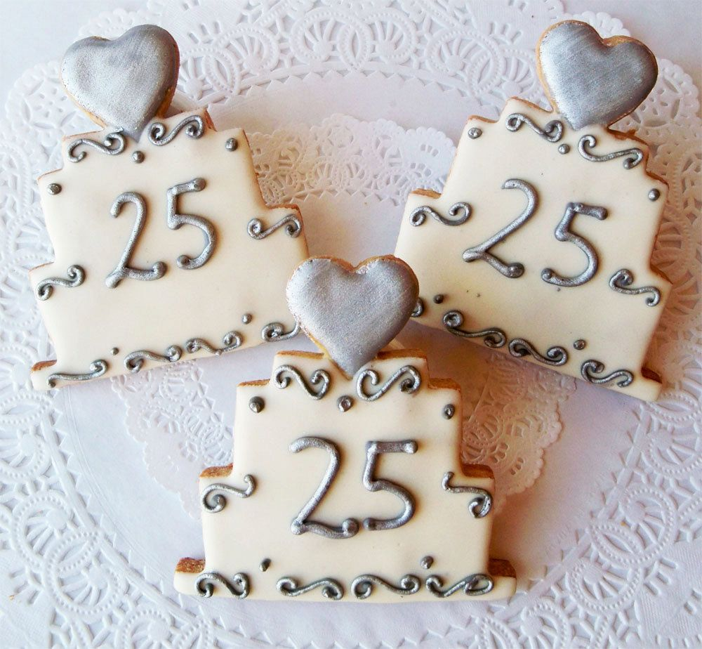 25th Wedding Anniversary Cake Cookie. *Also be cute for 50 Wedding ...