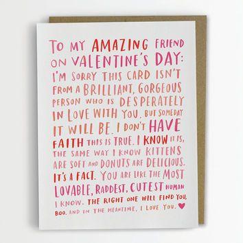 Valentine For My Amazing Single Friend / Friend Valentine Card ...