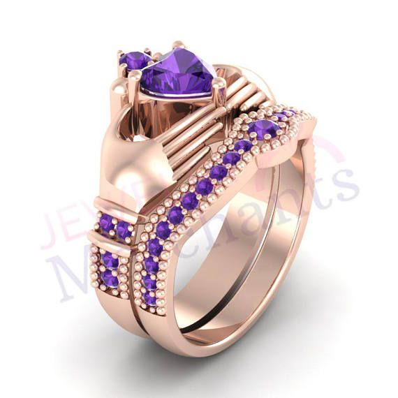 Wedding Ring Set 3.15Ct Heart Shape Lab Made Purple Sapphire Solid 925 Sterling Silver 14K Rose Gold Over Irish Claddagh Engagement Ring Set