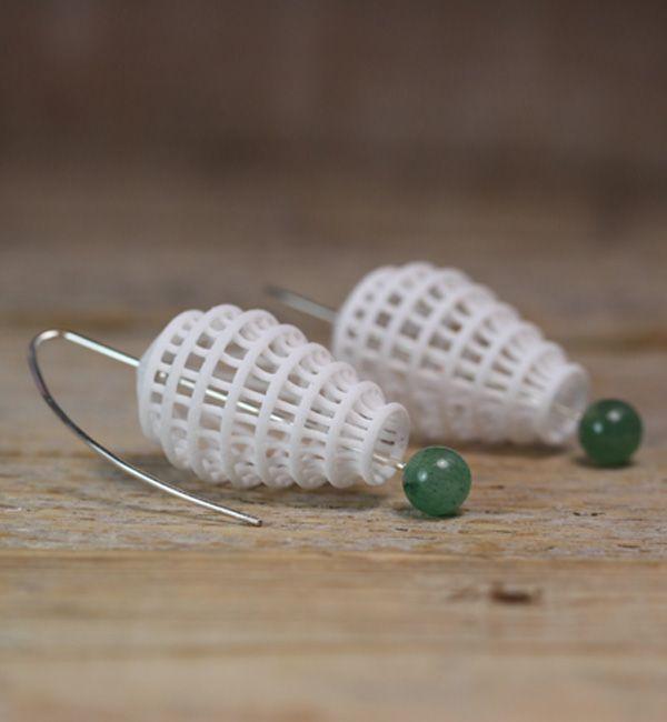 white Lantern Earrings with green stone bead, geometric earring, white Zen…