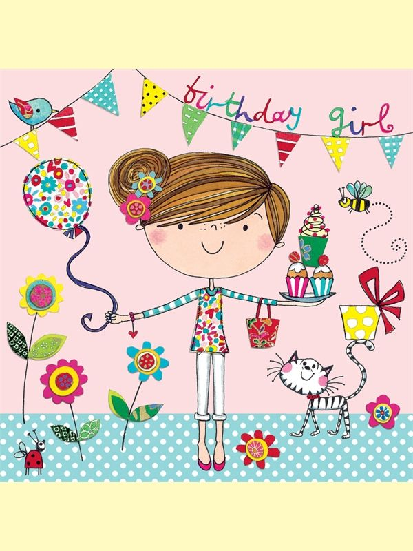 Rachel Ellen Birthday Girl Card Bunting And Balloon Birthday