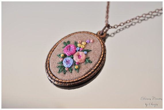 Hand embroidery necklace hand stitched necklace by DreamCreates