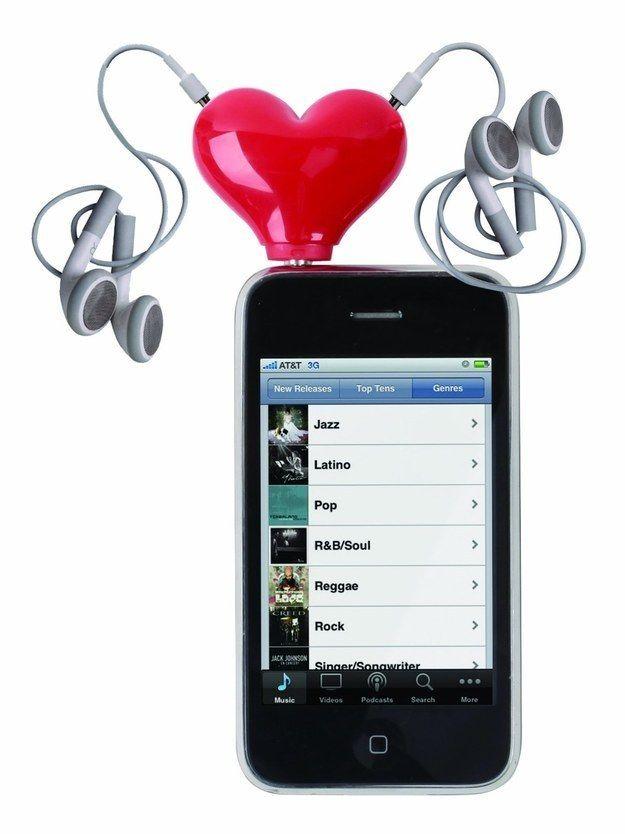 Adaptador para dos audífonos en forma de corazón   Formas de corazón ...