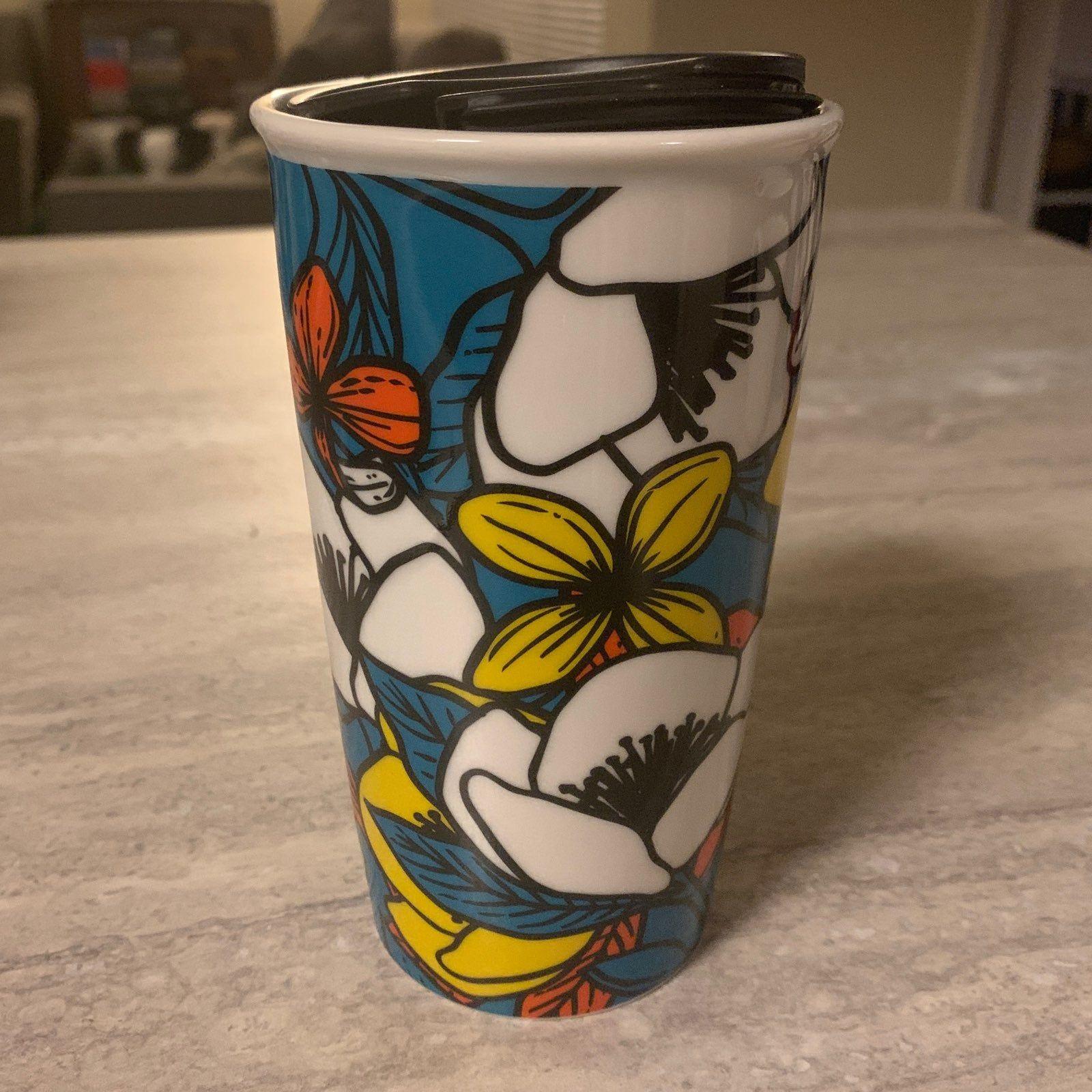 Blue, floral Starbucks ceramic travel mug with lid, for