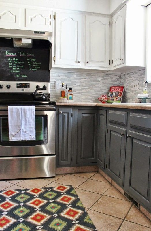 Grey And White Kitchen Makeover With Tile Backsplash And