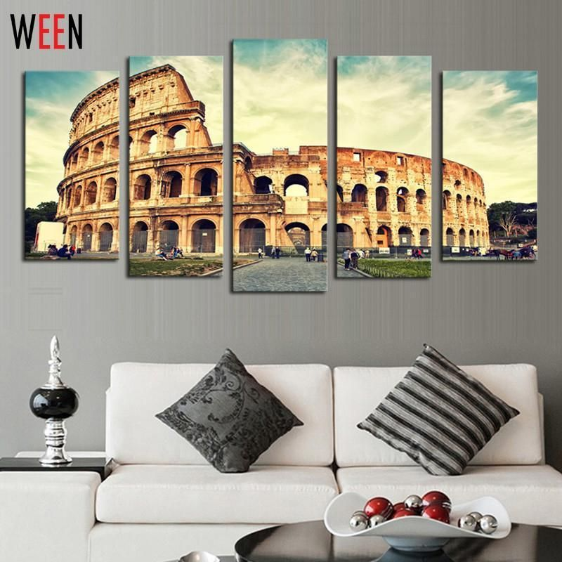 5 Panels Roman Colosseum Canvas Artwork Wall Art For Home Decoration Modern Roman Pictures Poster No Frame Arts The Painti Home Art Wall Artwork Canvas Artwork