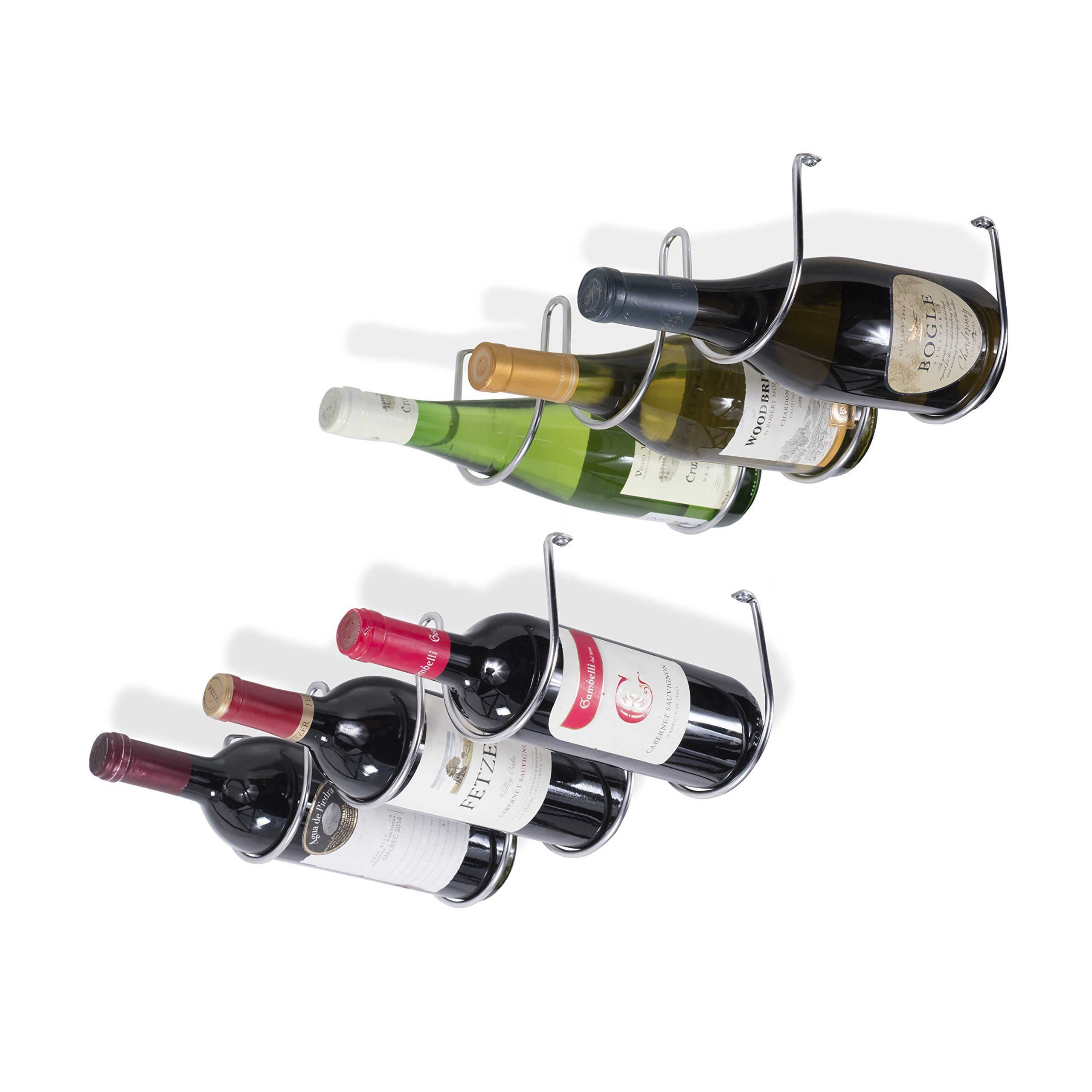 Wallniture Under Cabinet Wine Storage Rack For 6 Liquor Bottles