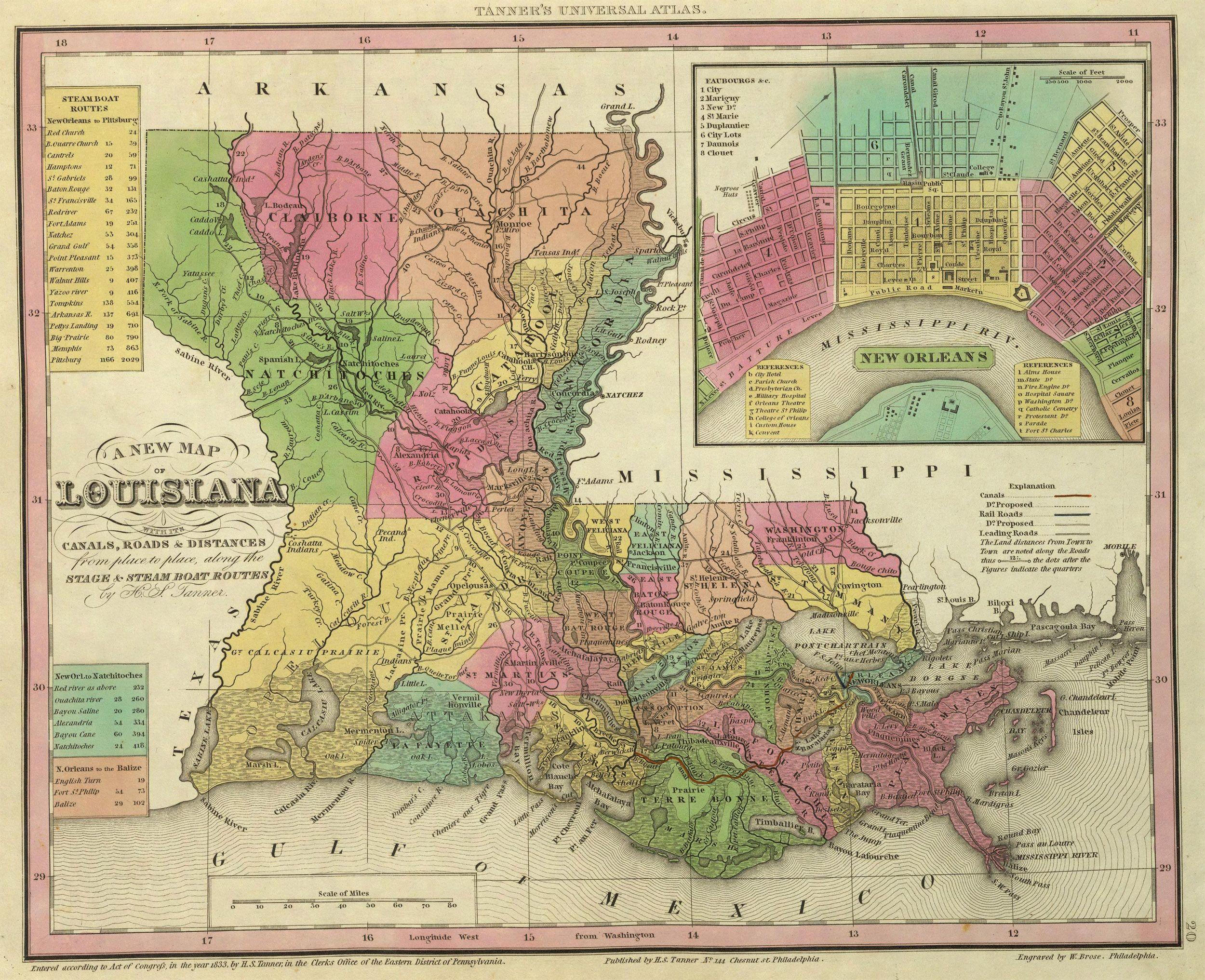 1836 Louisiana | Ancestry | Louisiana map, Map, State map