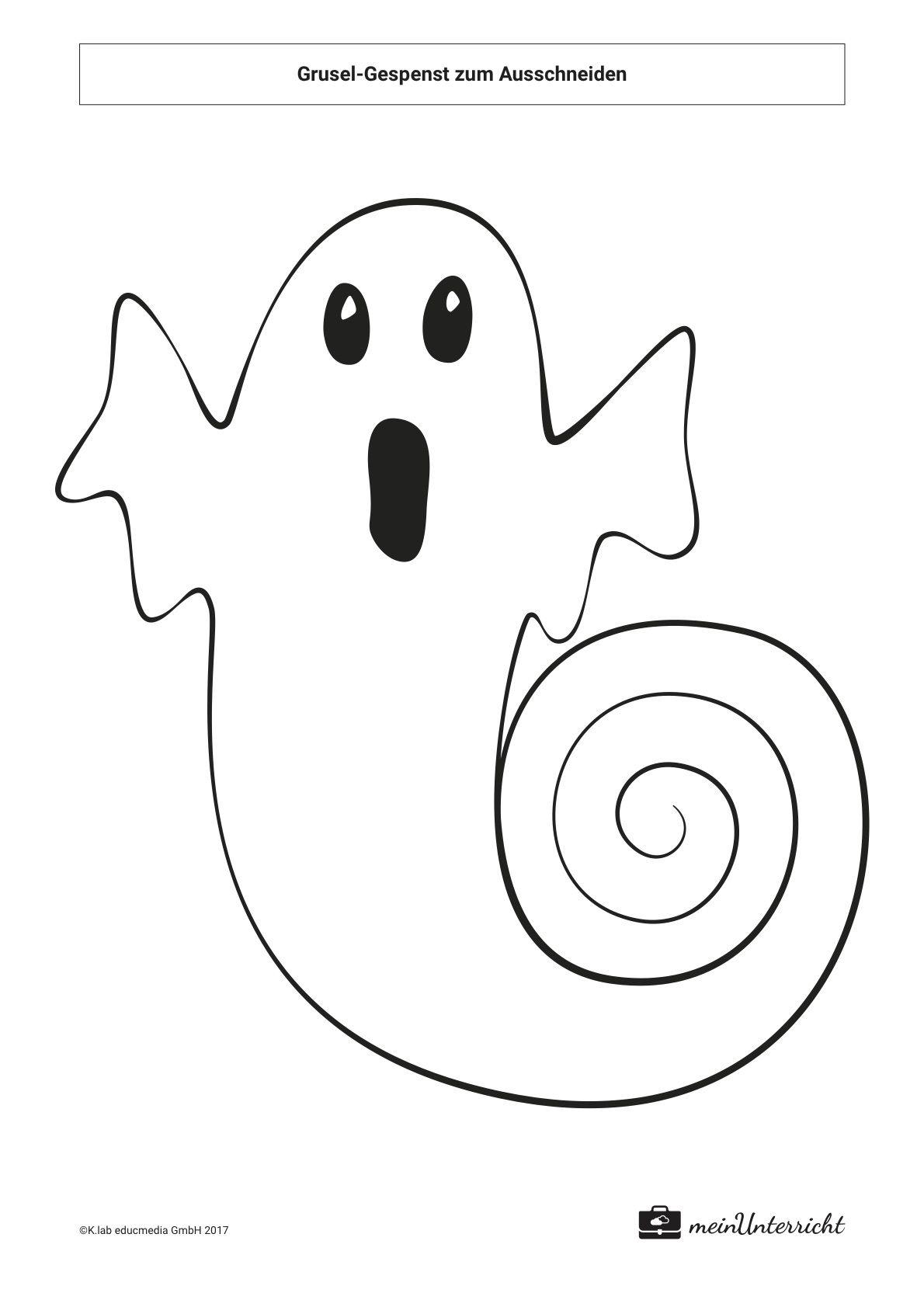 Grusel Gespenst Zum Ausschneiden Meinunterricht De Basteln Halloween Halloween Basteln Vorlagen Halloween Katze Basteln
