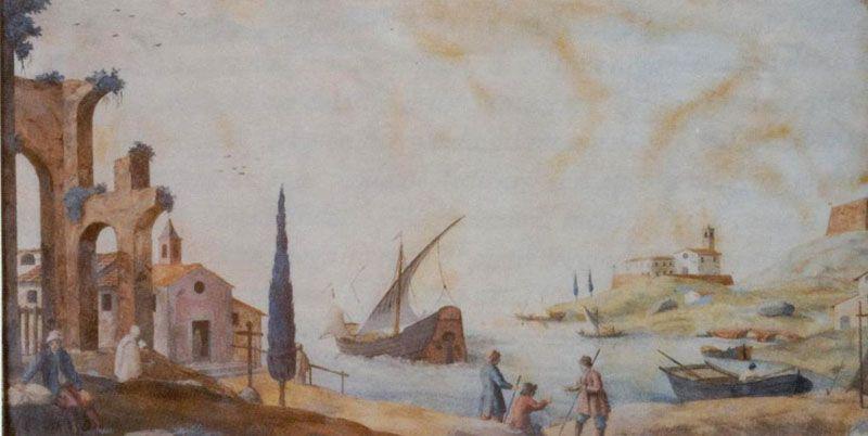Enrico Hugford, Paesaggio marino con rovine, scagliola