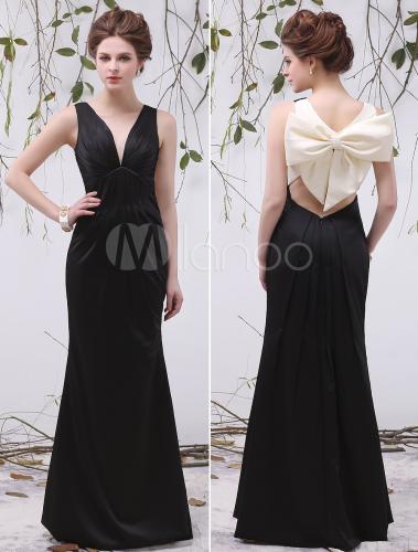 Black Cut Out V-Neck Bow Mermaid Satin Unique Evening Dress For Women - Milanoo.com
