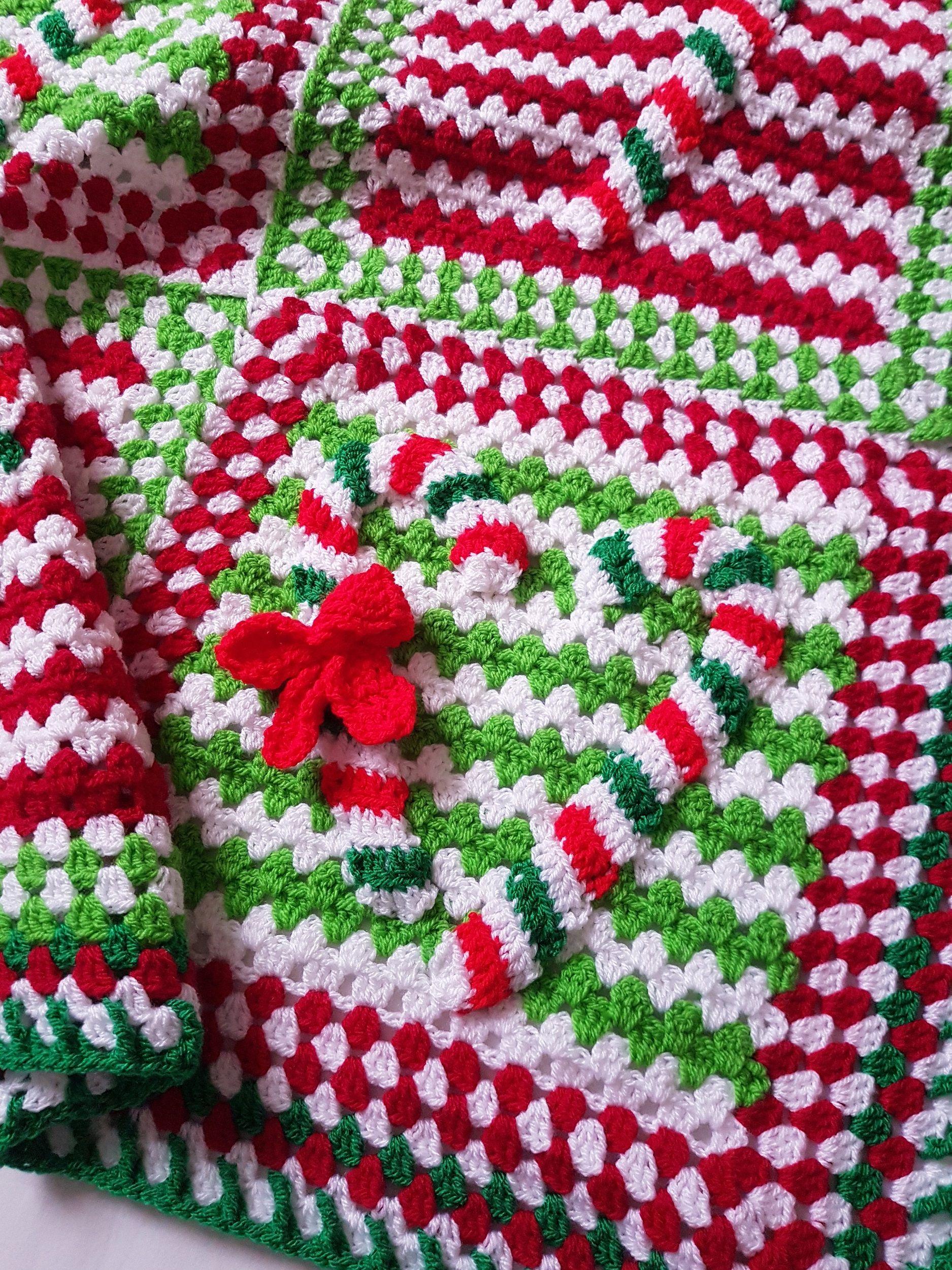 Crochet Blanket Candy Cane Lane In