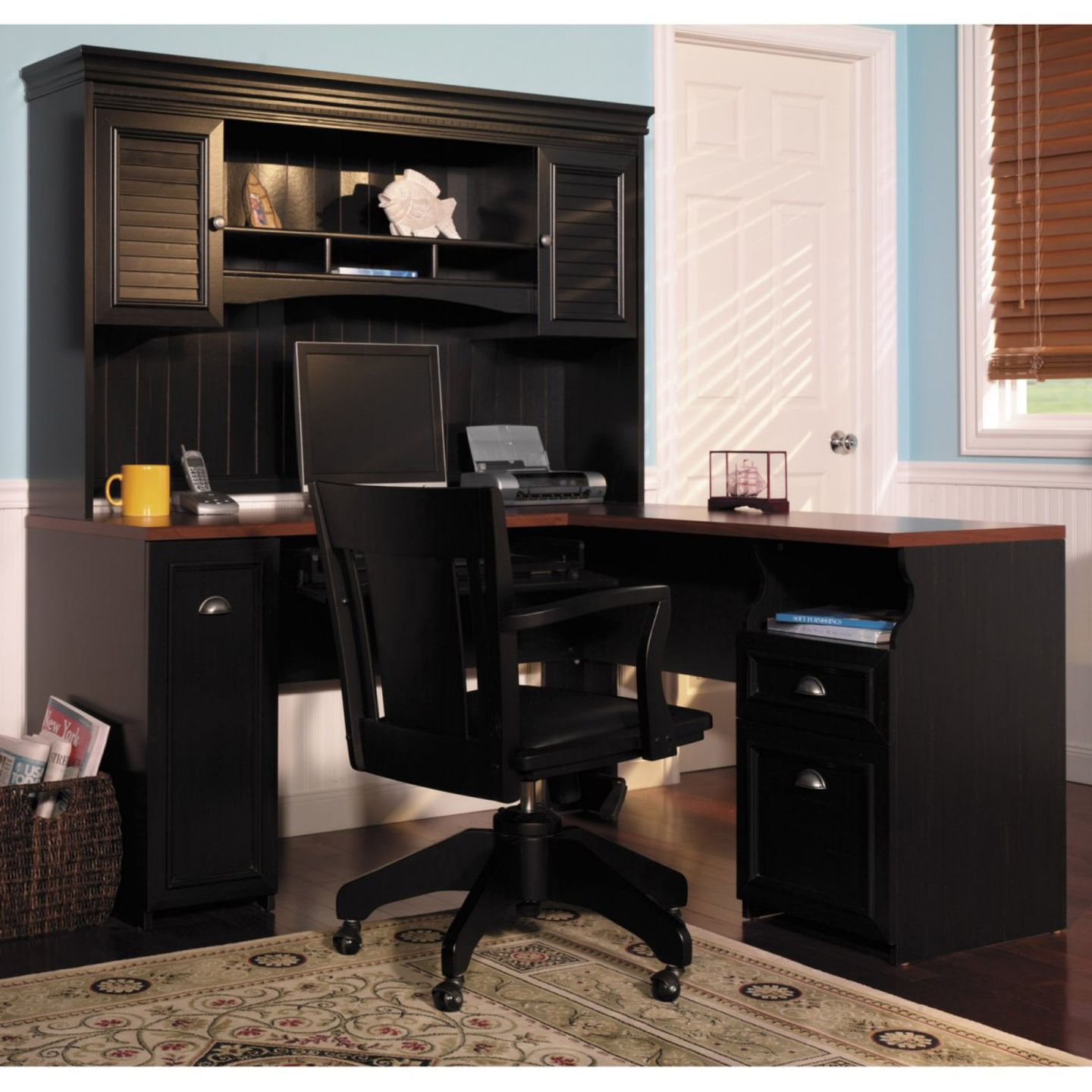 Bush Fairview Computer Desk and Optional Hutch in Antique Black   The Bush  Fairview Desk and Hutch is a complete home office workstation that delivers. furniture home office desk with hutch painted with black color