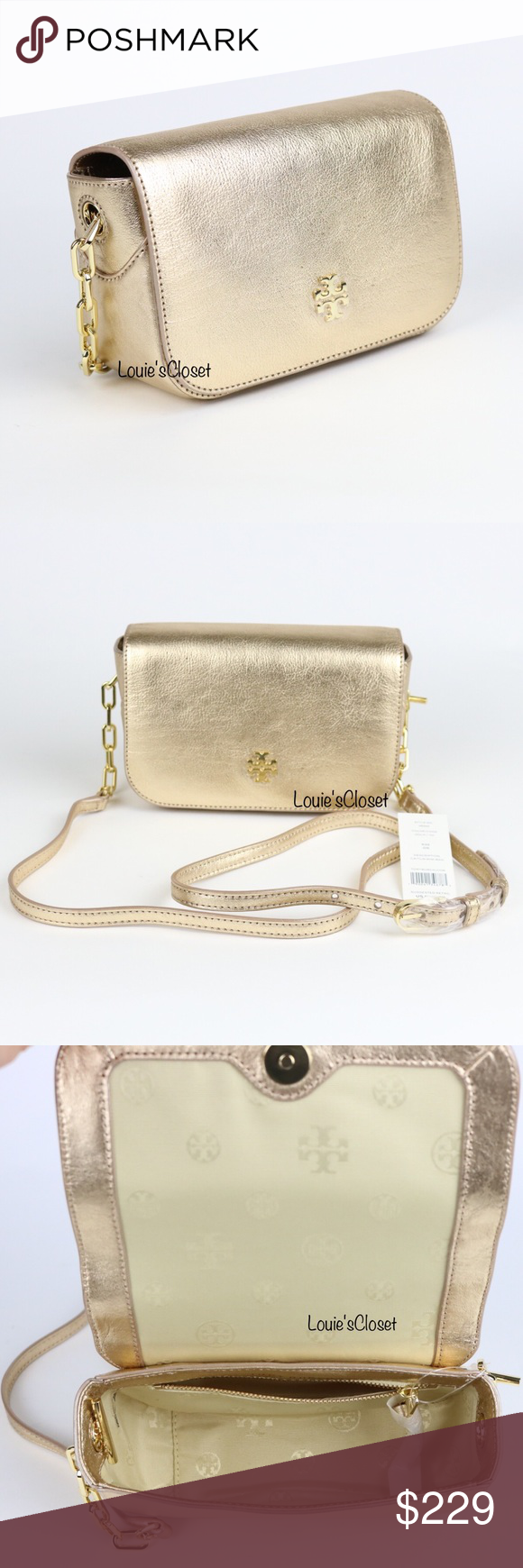 0aba133b6a90 Tory Burch Caitlin Mini Bag Tory Burch Caitlin Mini Bag   Gold metallic  leather   Zip