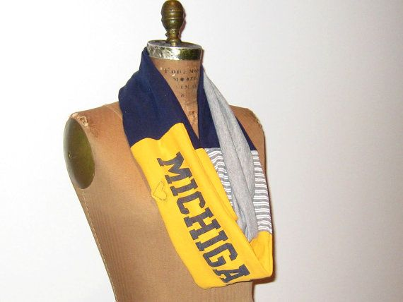 @moxiethrift on etsy Wustman, you could get this for the meet instead of a shirt!   Michigan T Shirt Infinity Scarf // Eternity // Navy Blue by ohzie, $25.00