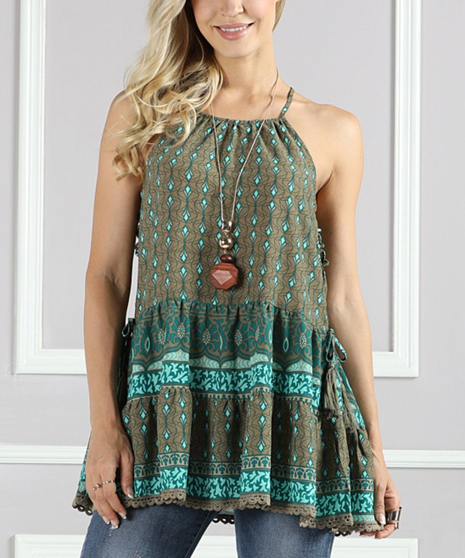6cb97fae1f43d3 Take a look at this Suzanne Betro Olive & Mint Side-Lace Tier Ruffle Tunic  - Plus Too today!