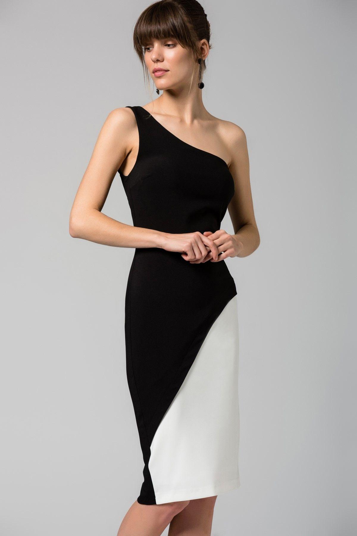 Tek Omuz Siyah Beyaz Elbise Mlwss16bb2565 Trendyolmilla Trendyol Siyah Beyaz Elbiseler Elbise Sevimli Kiyafetler
