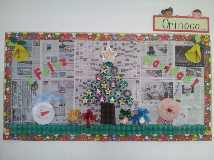Cartelera de navidad realizada con material de desecho - Adornos de navidad con material de desecho ...