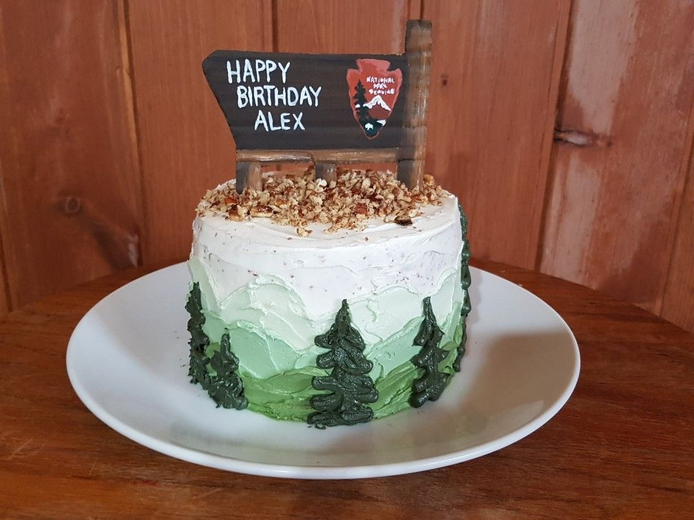 National Park Service wooden sign birthday cake with