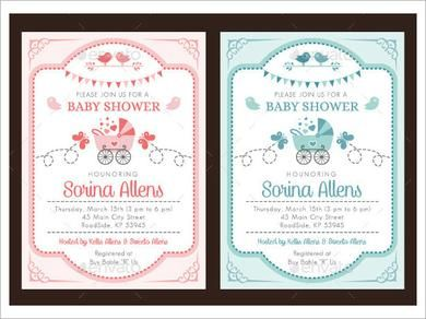Baby Shower Invitation Template 19 In Vector Psd
