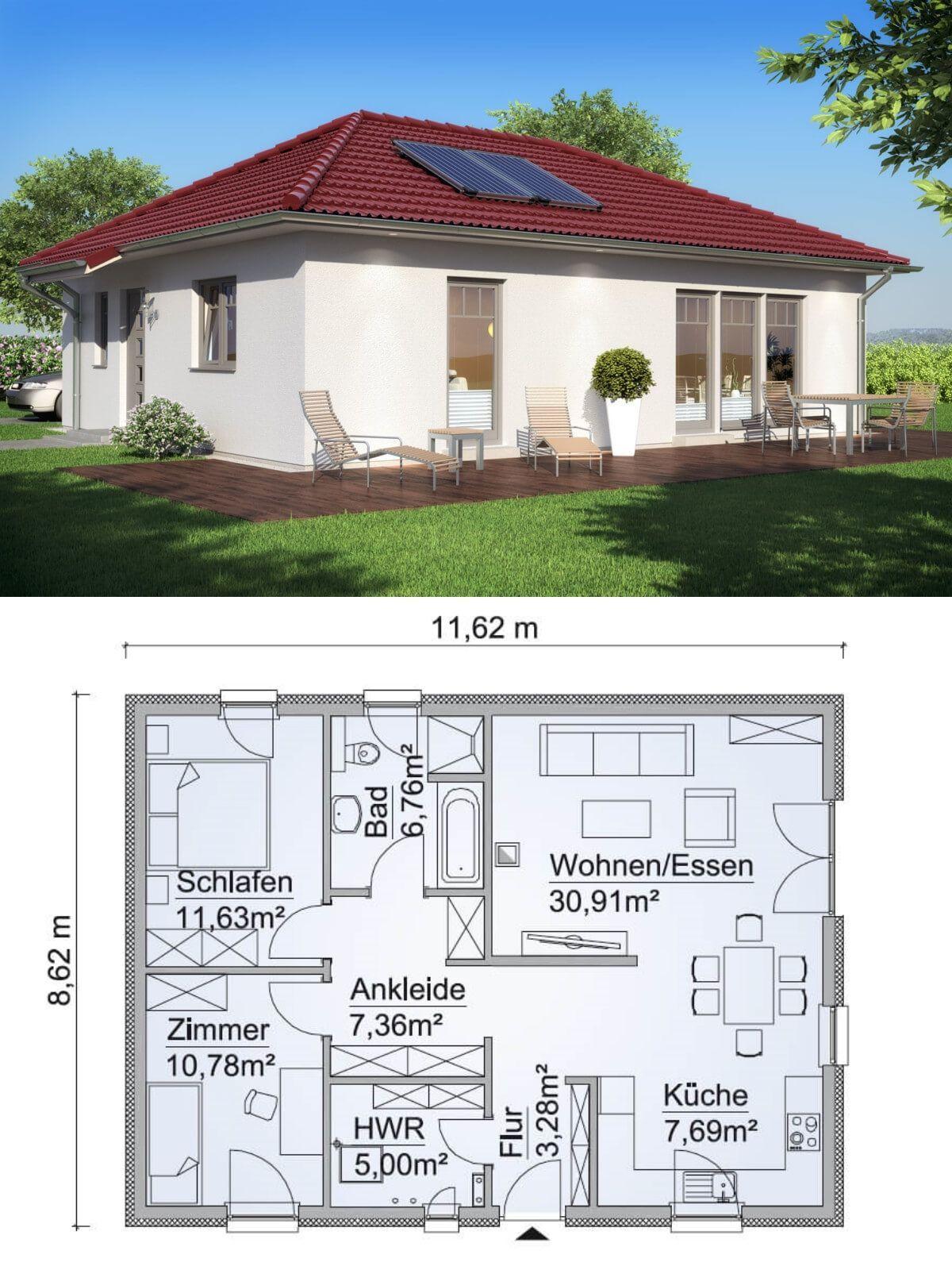 Moderner Bungalow Haus Grundriss rechteckig mit Walmdach