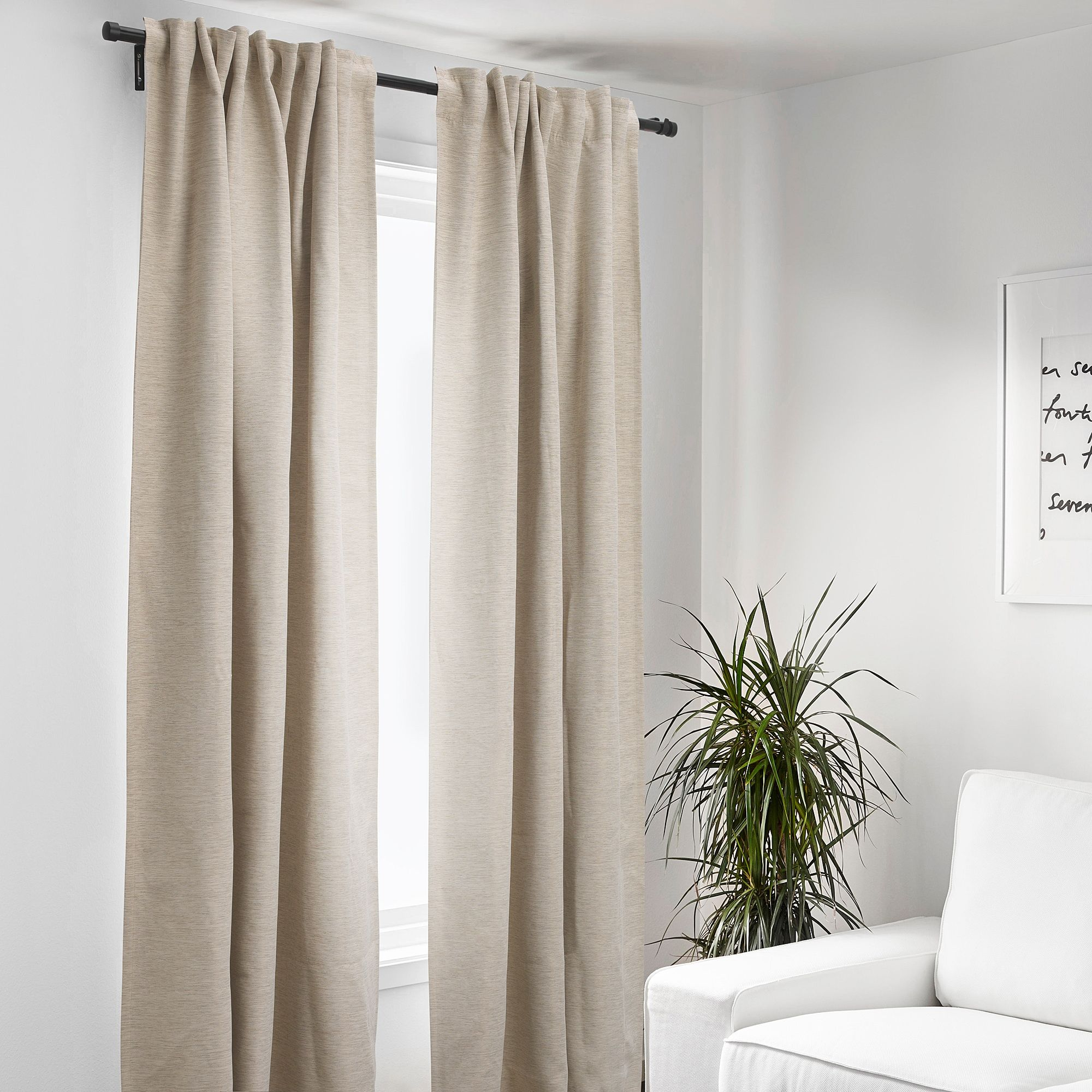 Kalamondin Room Darkening Curtains 1 Pair Beige Ikea Beige Curtains Living Room Curtains Beige Curtains