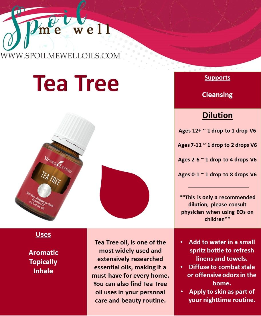 Tea Tree Essential Oil, Dilution rations, Young Living