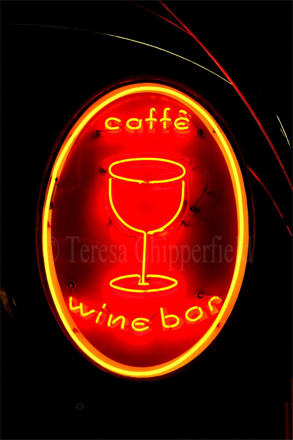 Wine Bar Neon Sign Photo Cafe Sign Print Wine Glass Sign Print Glowing Night Sign Print Landmark Sign Portland Oregon 16x24 8x12 12x18 Cafe Sign Wine Signs Neon Signs
