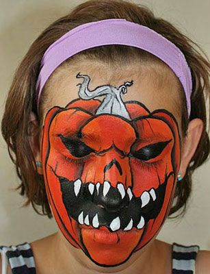 this scary pumpkin face paint is frightfully good - How To Paint Pumpkins For Halloween