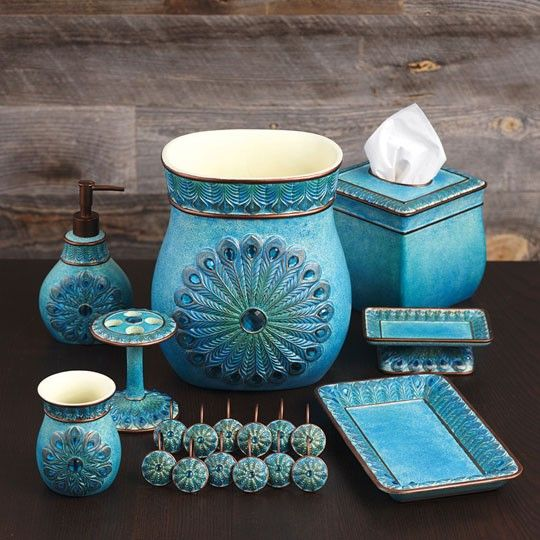 Find This Pin And More On Bathroom. Beautiful And Elegant Bathroom  Accessories In Peacock ...