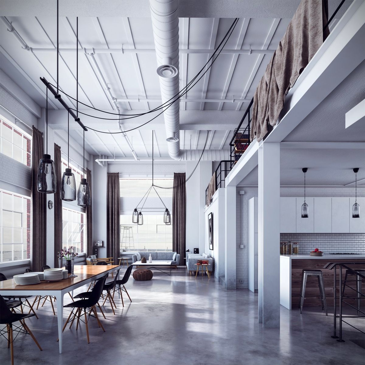 Industrial Loft: Luxurious Living Room Design With Modern-Classic Interior