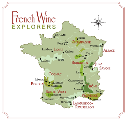 Here is a handy wine map of France that will serve useful when