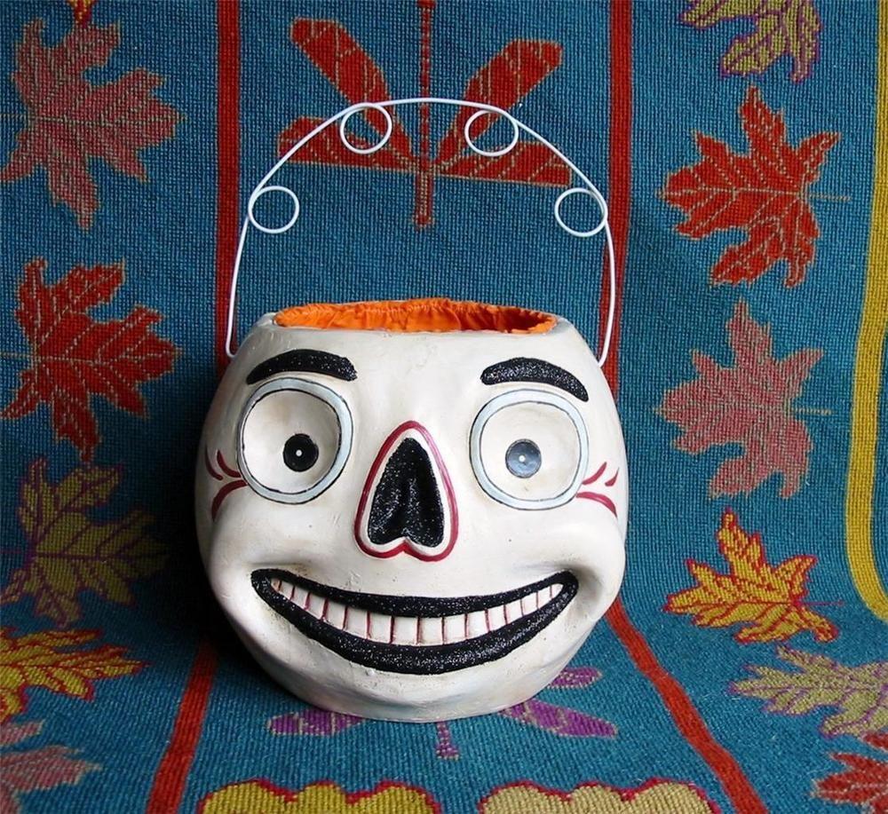 Halloween Large Skull Skeleton Bucket Plaster and Paper Mache Jack O'lantern JOL