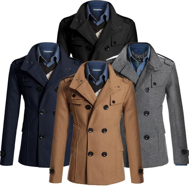 Wool Coat Men's Double Breasted Peacoat Long Men Jacket Winter ...