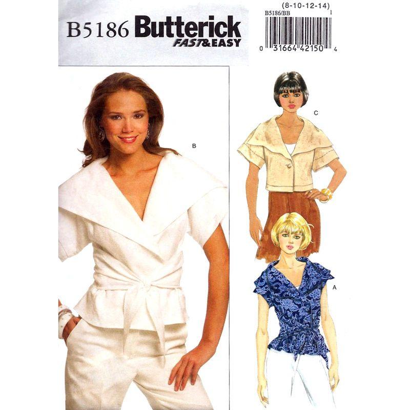 Wrap Top Pattern Butterick 5186 Large Collar Flounce Sash Womens ...