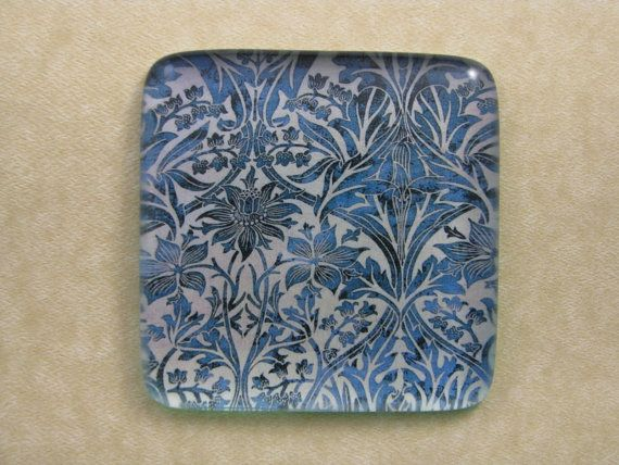 William Morris Blue Bluebell Curtain Fabric Square Glass Tile Paperweight Arts and Crafts Home Decor.
