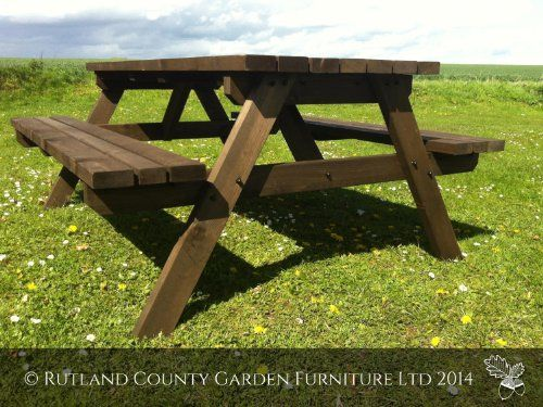 Garden Furniture 2014 Uk picnic table - pub style bench - 6ft - brown - heavy duty - hand